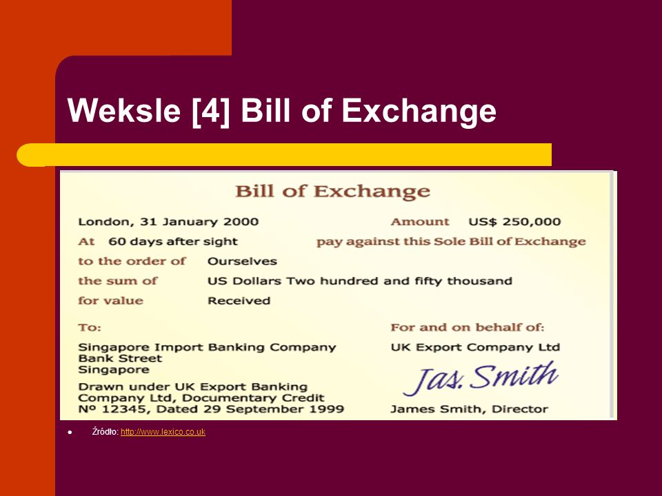 Weksle [4] Bill of Exchange